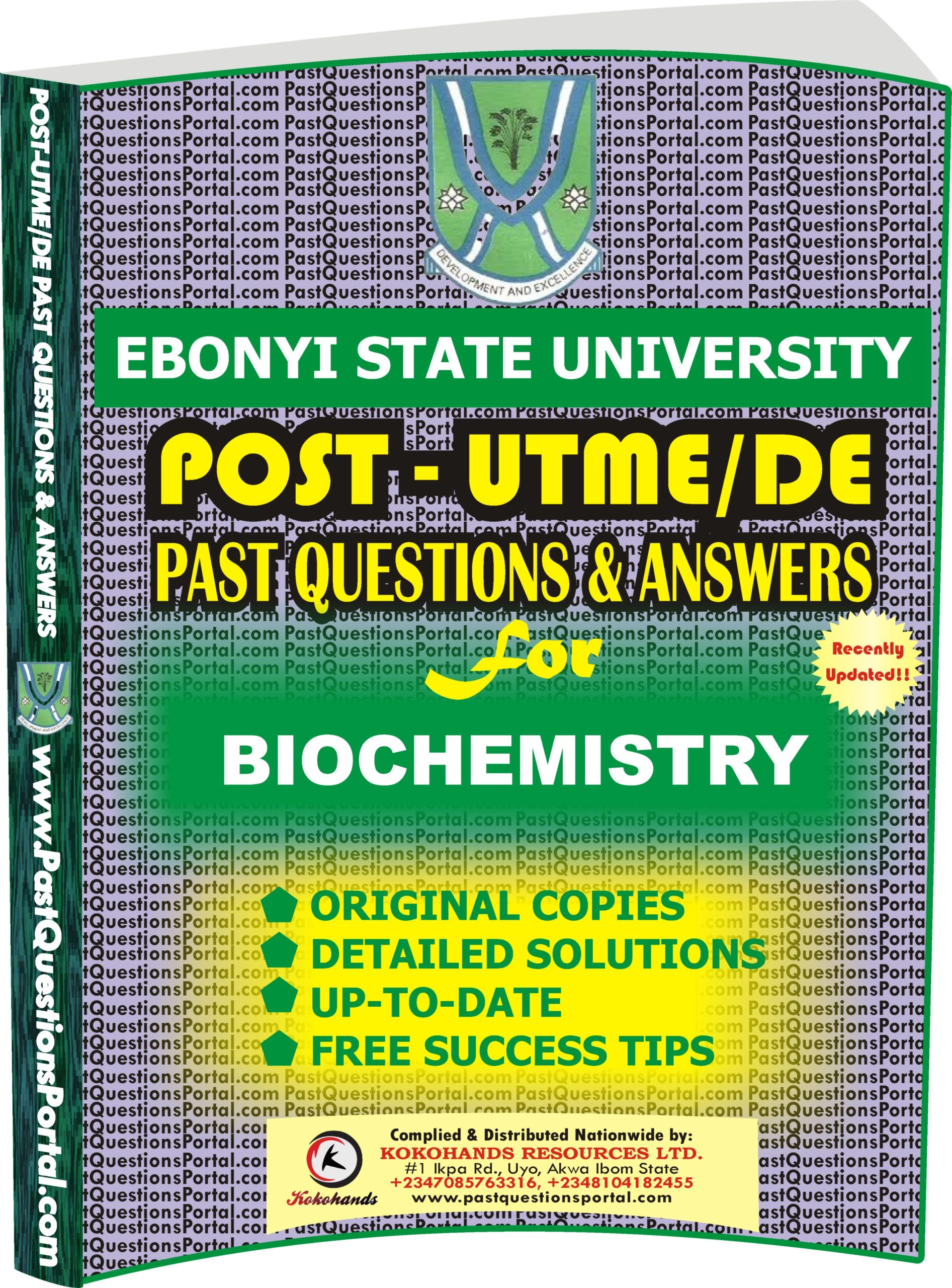 EBSU Post UTME Past Questions for BIOCHEMISTRY