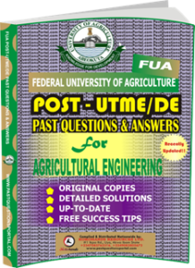 FUA Post UTME Past Questions for AGRICULTURAL ENGINEERING