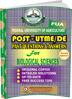 FUA Post UTME Past Questions for BIOLOGICAL SCIENCES