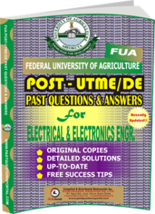 FUA Post UTME Past Questions for ELECTRICAL ELECTRONICS ENGINEERING