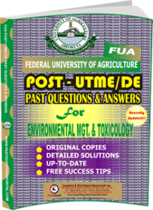 FUA Post UTME Past Questions for ENVIRONMENTAL MANAGEMENT