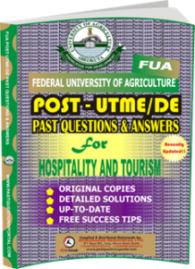 FUA Post UTME Past Questions for HOSPITALITY AND TOURISM