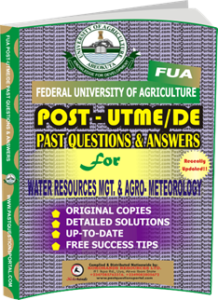 FUA Post UTME Past Questions for WATER RESOURCES MANAGEMENT