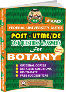FUD Post UTME Past Questions for BOTANY