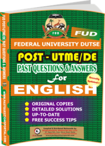 FUD Post UTME Past Questions for ENGLISH