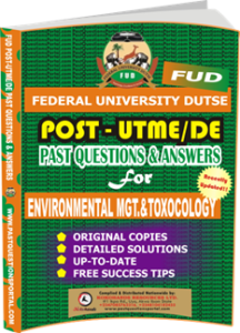 FUD Post UTME Past Questions for ENVIRONMENTAL MANAGEMENT