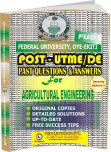 FUO Post UTME Past Questions for AGRICULTURAL ENGINEERING