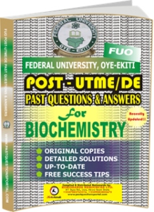 FUO Post UTME Past Questions for BIOCHEMISTRY