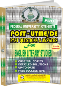 FUO Post UTME Past Questions for ENGLISH LITERARY STUDIES