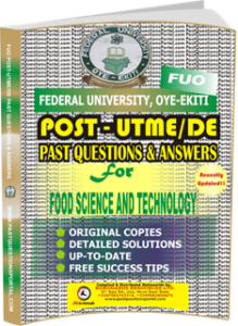 FUO Post UTME Past Questions for FOOD SCIENCE AND TECHNOLOGY
