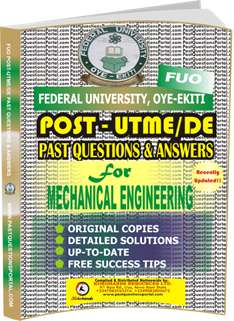 FUO Post UTME Past Questions for MECHANICAL ENGINEERING