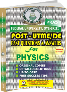 FUO Post UTME Past Questions for PHYSICS