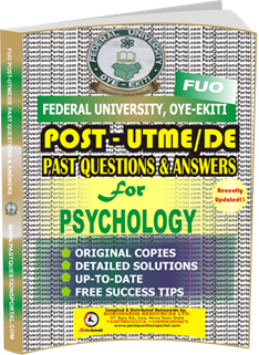 FUO Post UTME Past Questions for PSYCHOLOGY