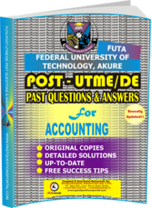 FUTA Post UTME Past Questions for ACCOUNTING