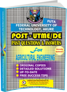 FUTA Post UTME Past Questions for AGRICULTURAL ENGINEERING