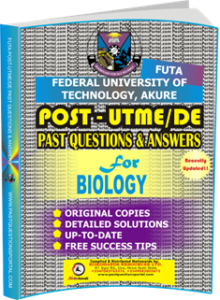 FUTA Post UTME Past Questions for BIOLOGY