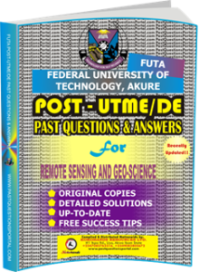 FUTA Post UTME Past Questions for REMOTE SENSING AND GEO-SCIENCE