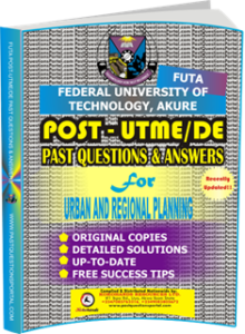FUTA Post UTME Past Questions for URBAN AND REGIONAL PLANNING