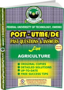 FUTO Post UTME Past Question for AGRICULTURE