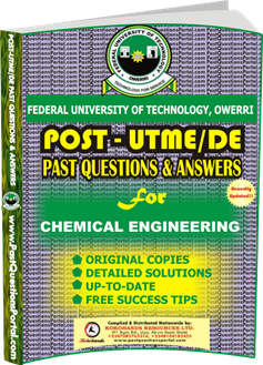 FUTO Post UTME Past Question for CHEMICAL ENGINEERING