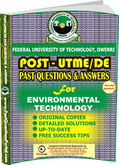 FUTO Post UTME Past Question for Environmental Technology