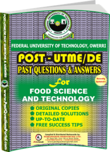FUTO Post UTME Past Question for Food Science and Technology