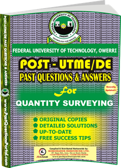FUTO Post UTME Past Question for QUANTITY SURVEYING