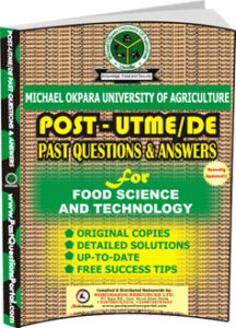 MOUAU Post UTME Past Question for Food Science and Technology