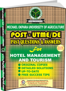 MOUAU Post UTME Past Question for Hotel Management and Tourism