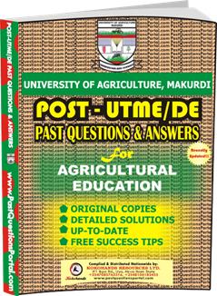 UAM Post UTME Past Question for Agricultural Education