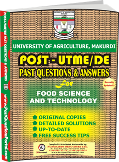 UAM Post UTME Past Question for Food Science and Technology
