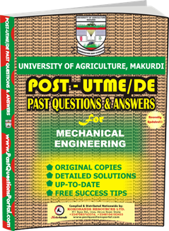 UAM Post UTME Past Question for Mechanical Engineering
