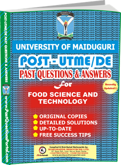 UNIMAID Post UTME Past Question for Food Science and Technology