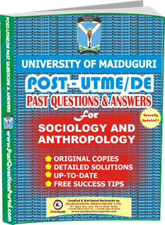 UNIMAID Post UTME Past Question for Sociology and Anthropology