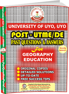 UNIUYO Post UTME Past Question for Education Geography