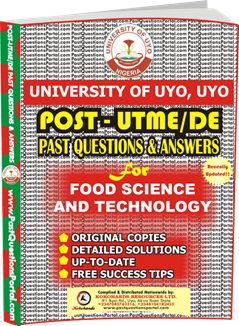 UNIUYO Post UTME Past Question for Food Science and Technology