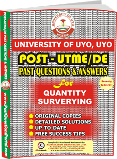 UNIUYO Post UTME Past Question for Quantity Surveying