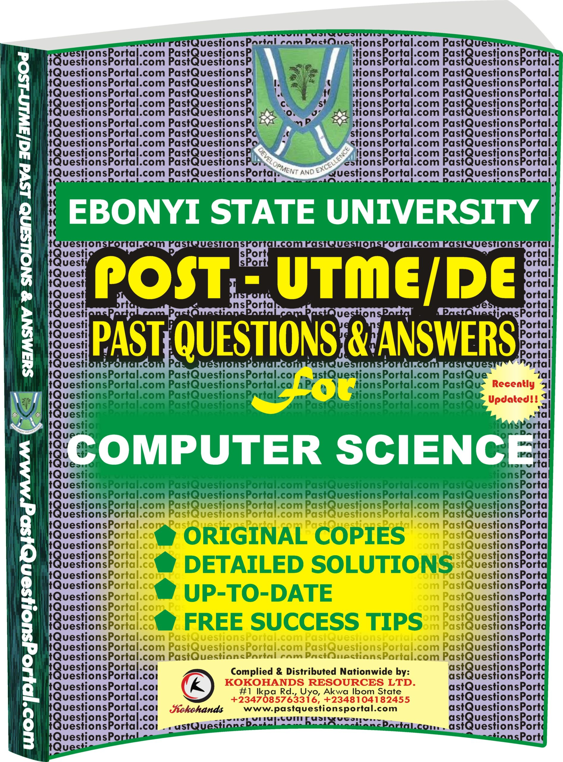 EBSU Post UTME Past Questions for COMPUTER SCIENCE
