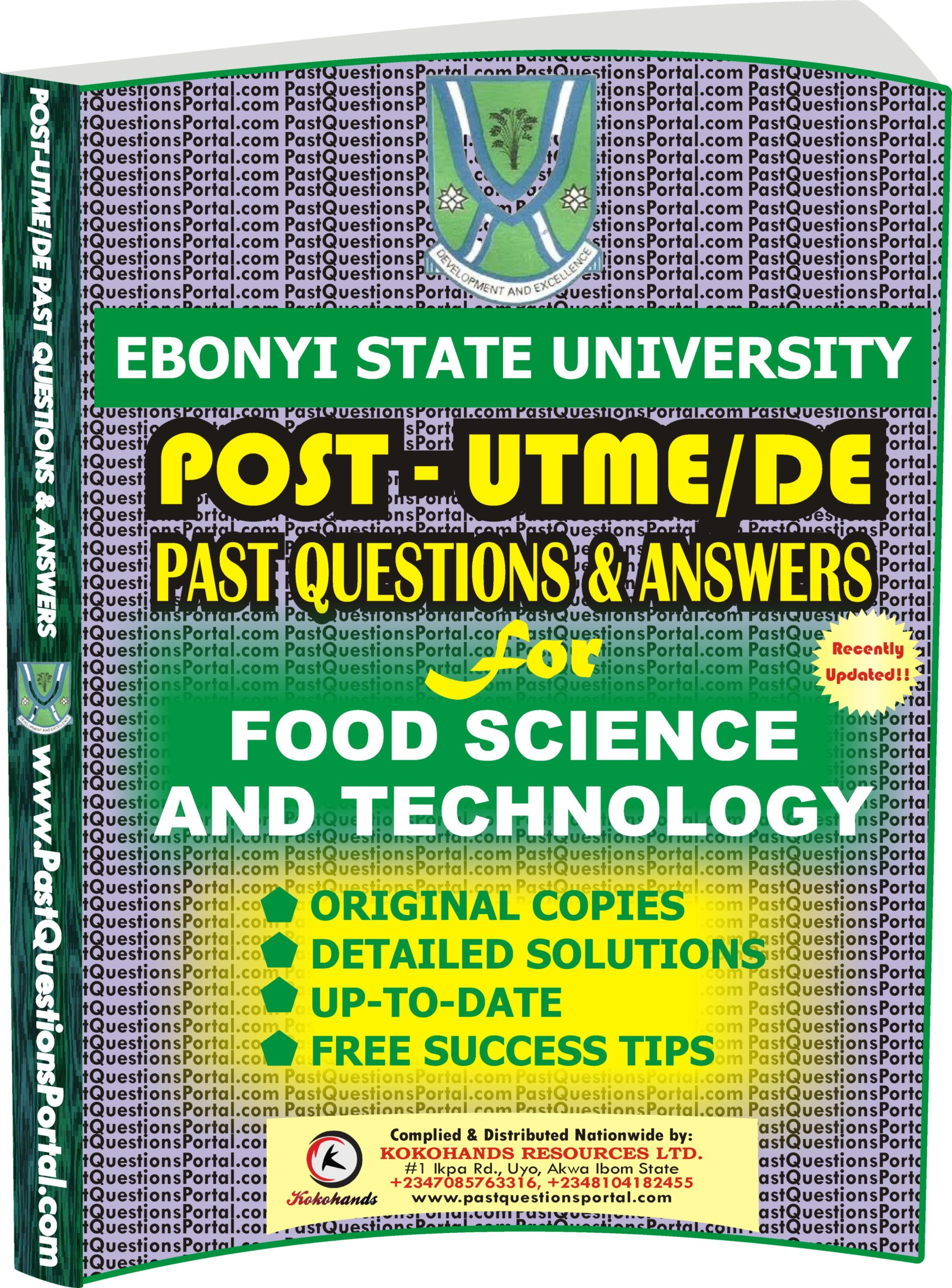 EBSU Post UTME Past Questions for Food Science and Technology