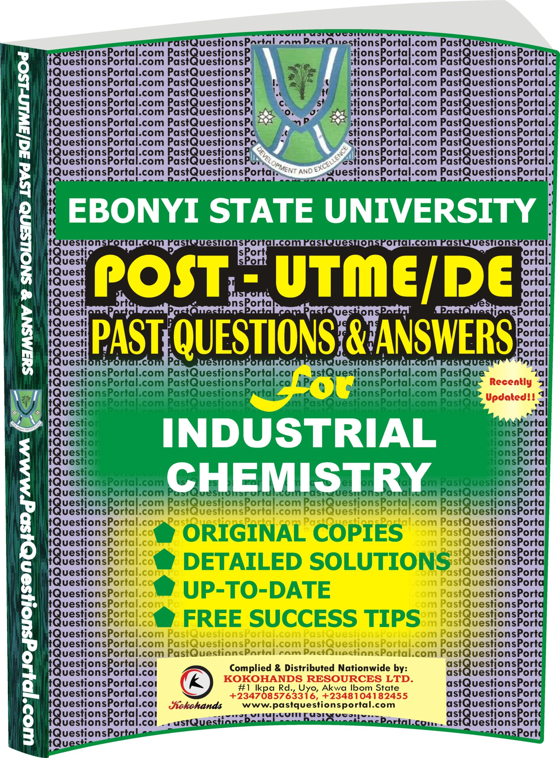 EBSU Post UTME Past Questions for INDUSTRIAL CHEMISTRY