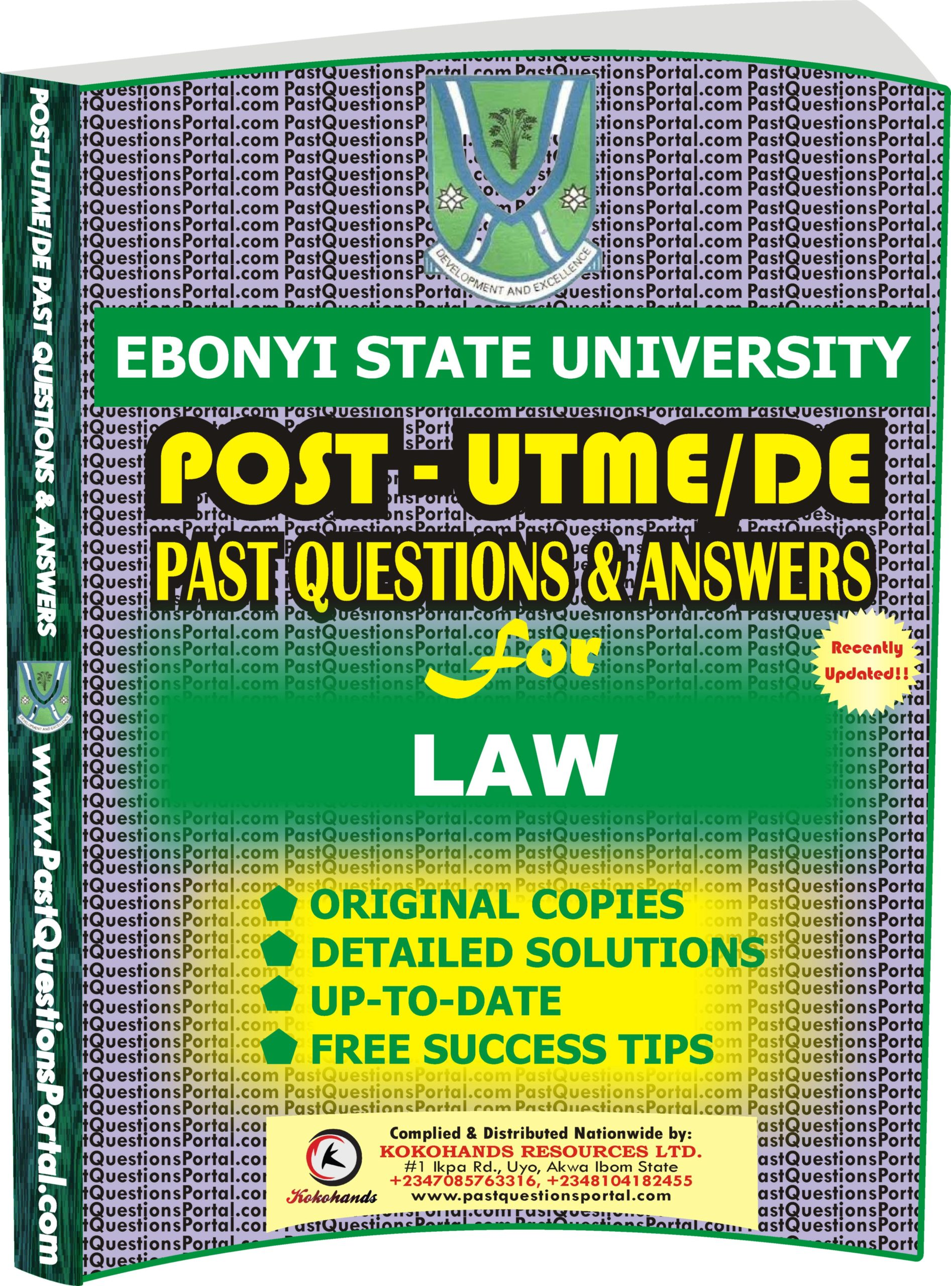 EBSU Post UTME Past Questions for LAW