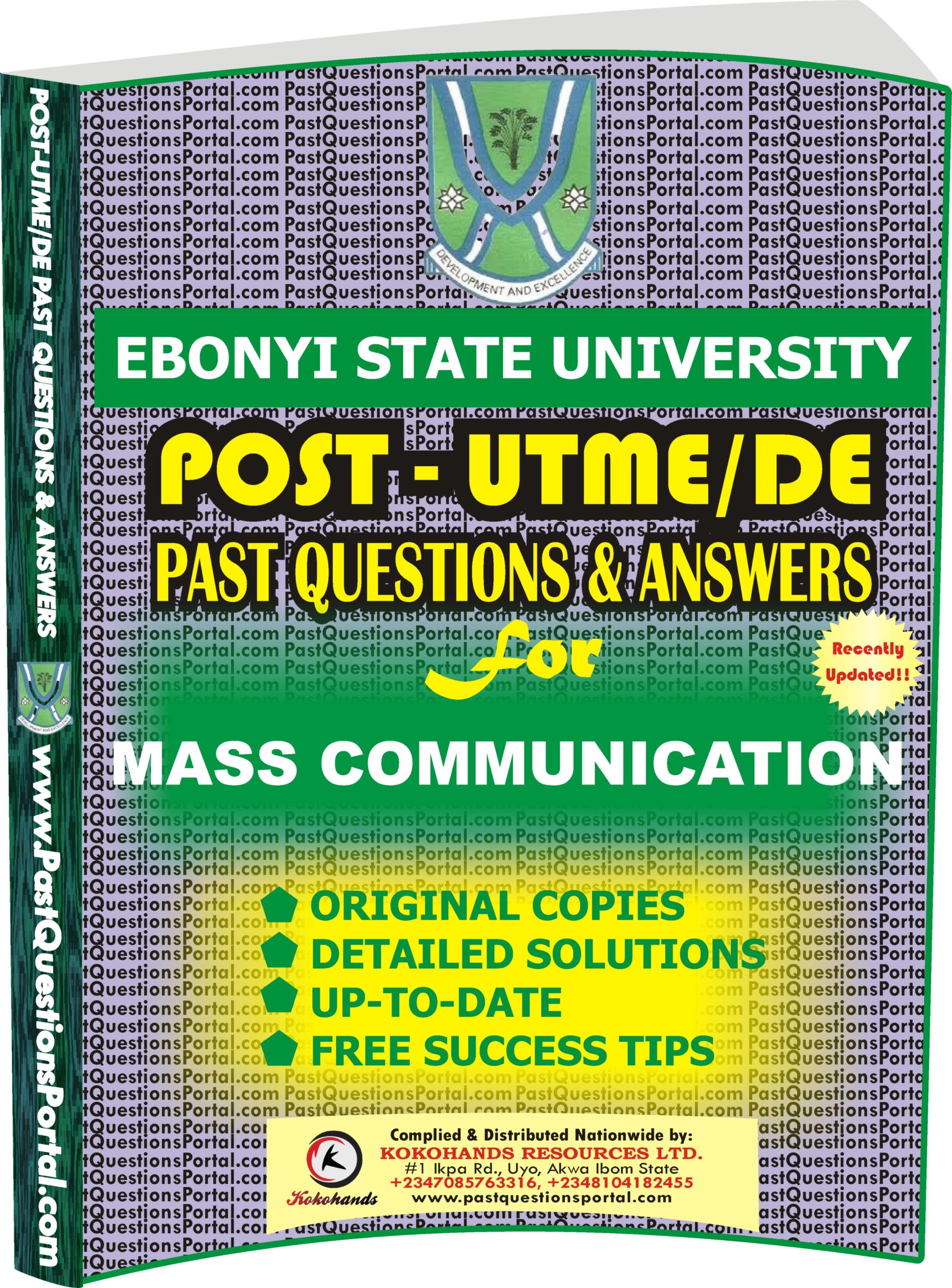 EBSU Post UTME Past Questions for MASS COMMUNICATION