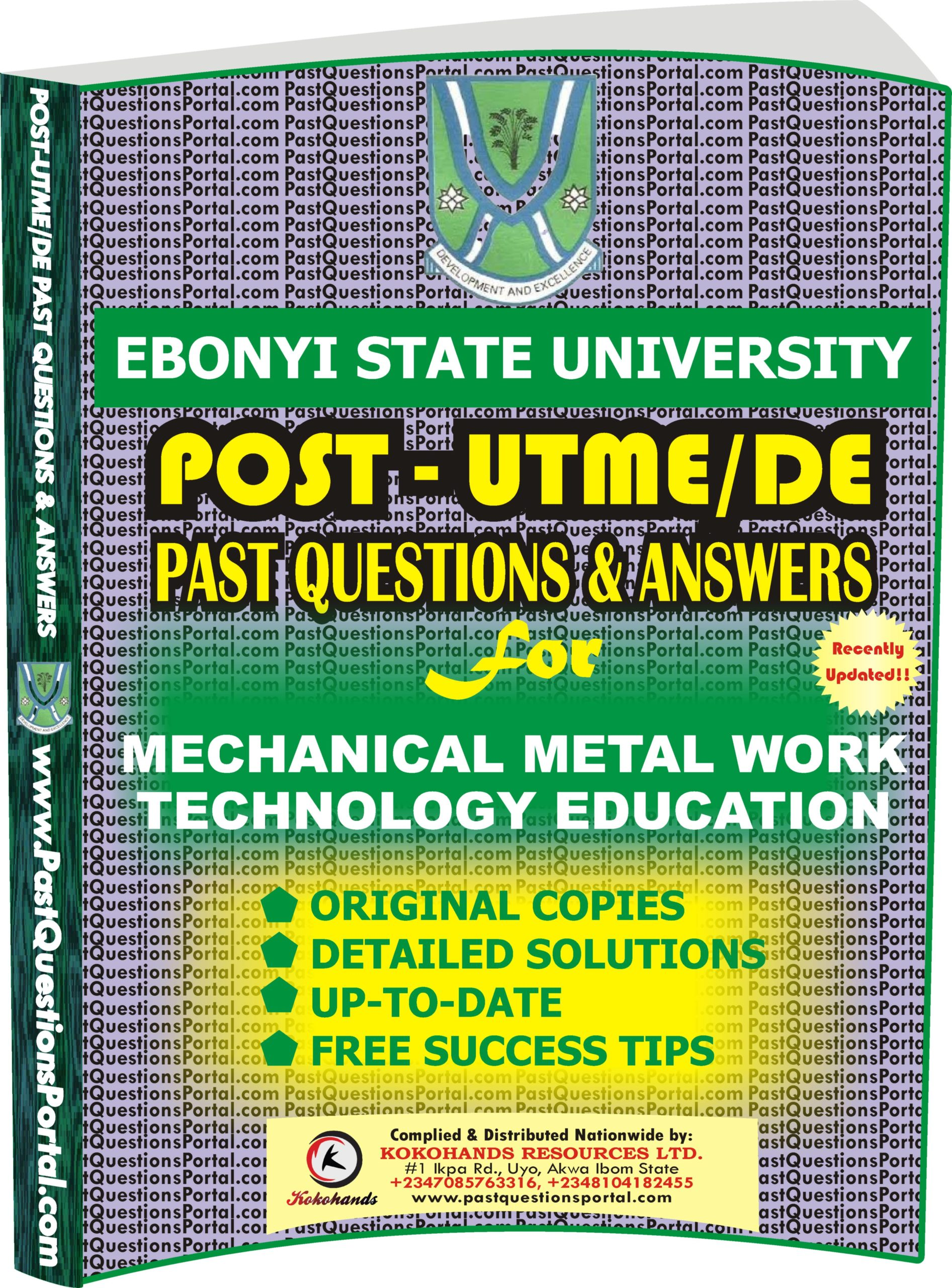 EBSU Post UTME Past Questions for Mechanical Metal Work Technology EDUCATION