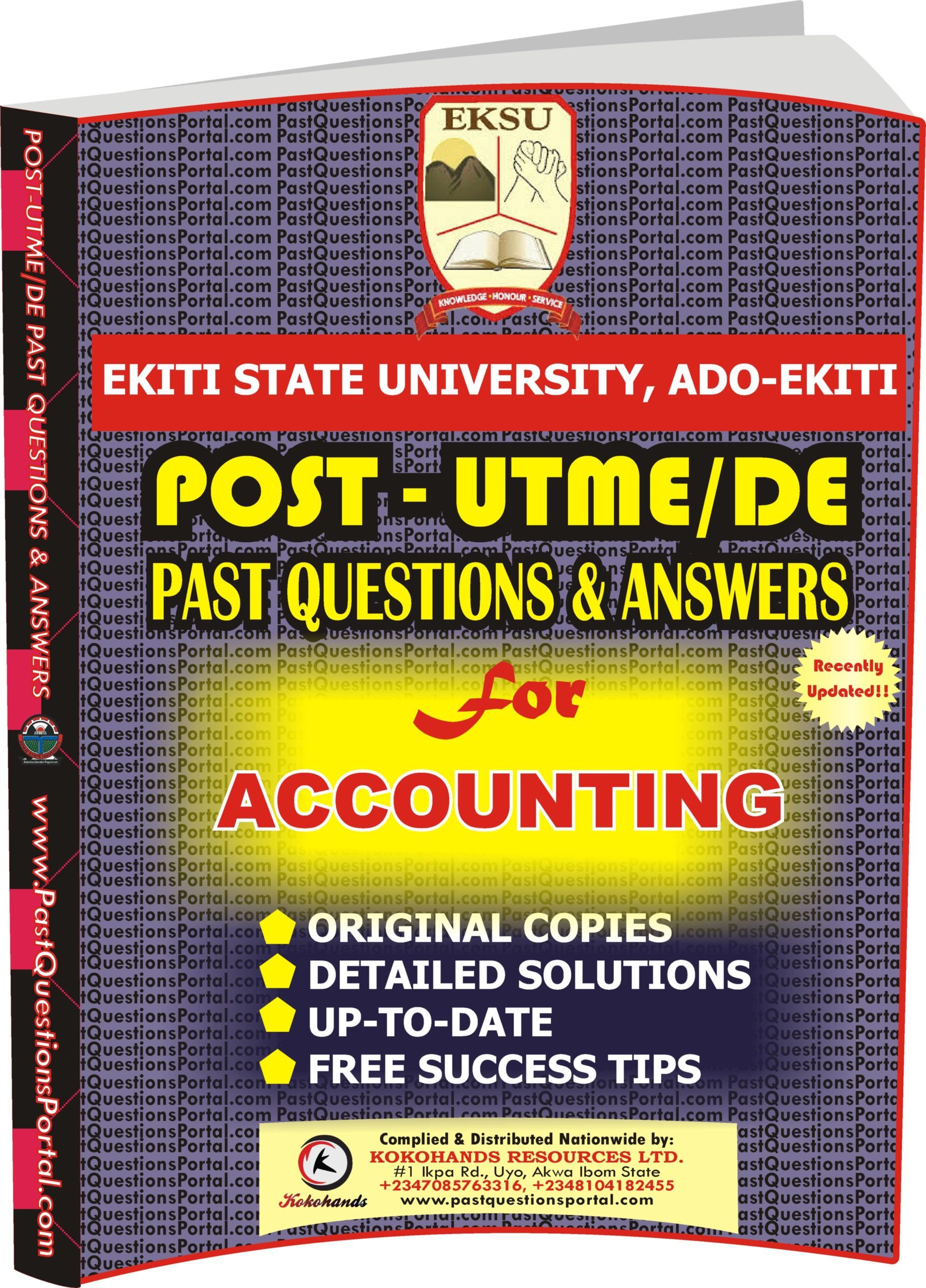 EKSU Post UTME Past Questions for ACCOUNTING