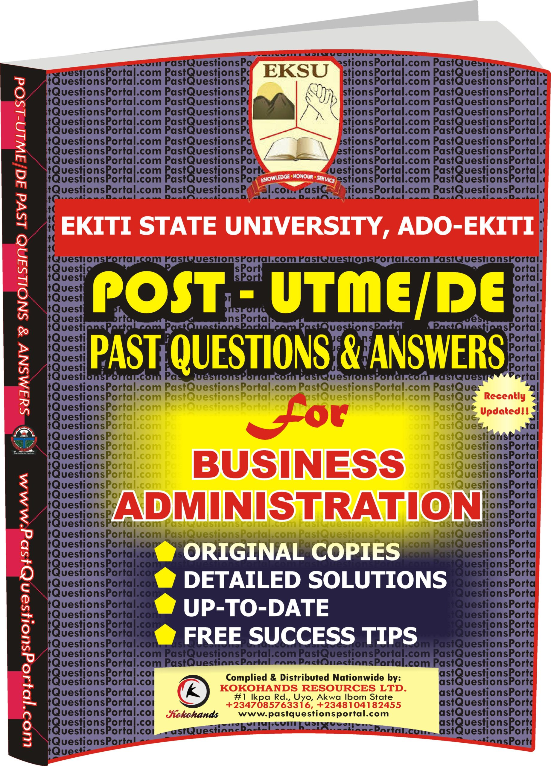 EKSU Post UTME Past Questions for BUSINESS ADMINISTRATION