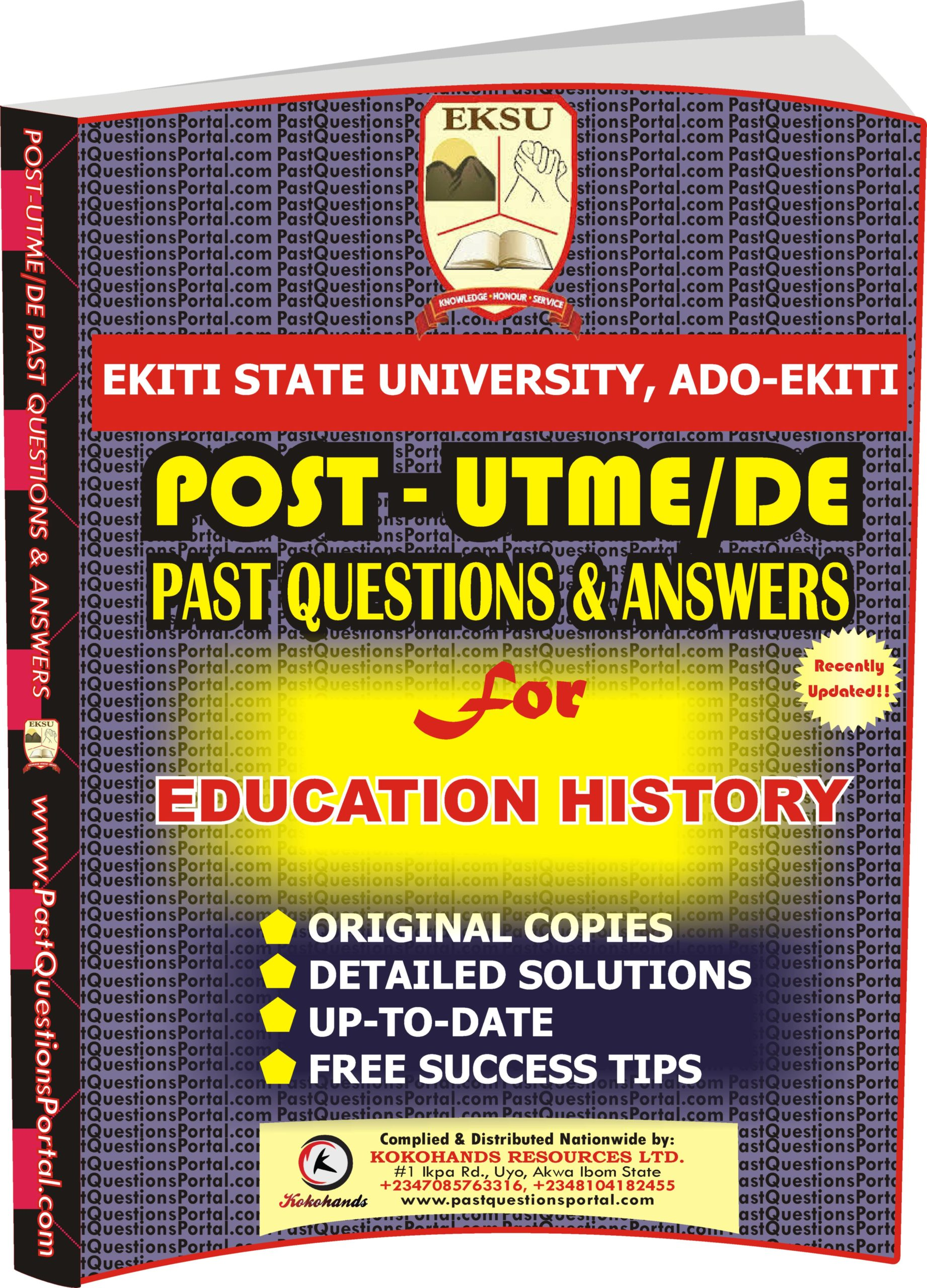 EKSU Post UTME Past Questions for EDUCATION HISTORY