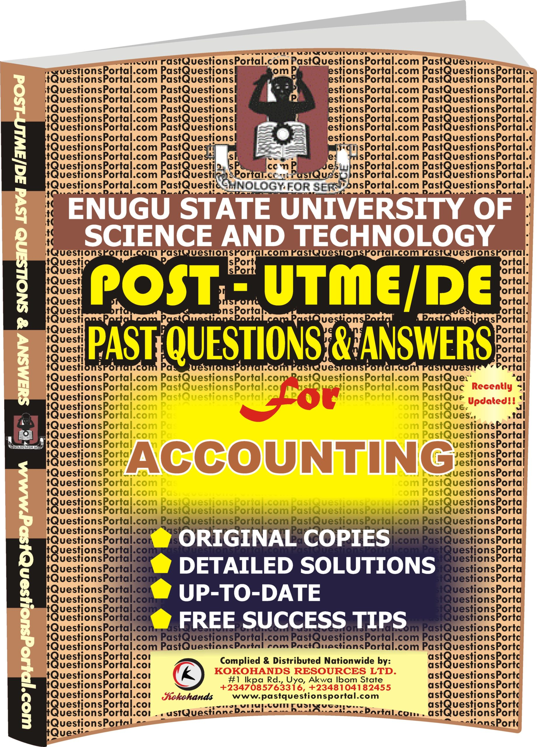 ESUT Post UTME Past Questions for ACCOUNTING