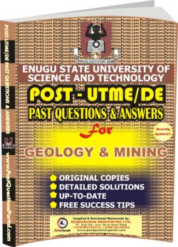 ESUT Post UTME Past Questions for GEOLOGY & MINING