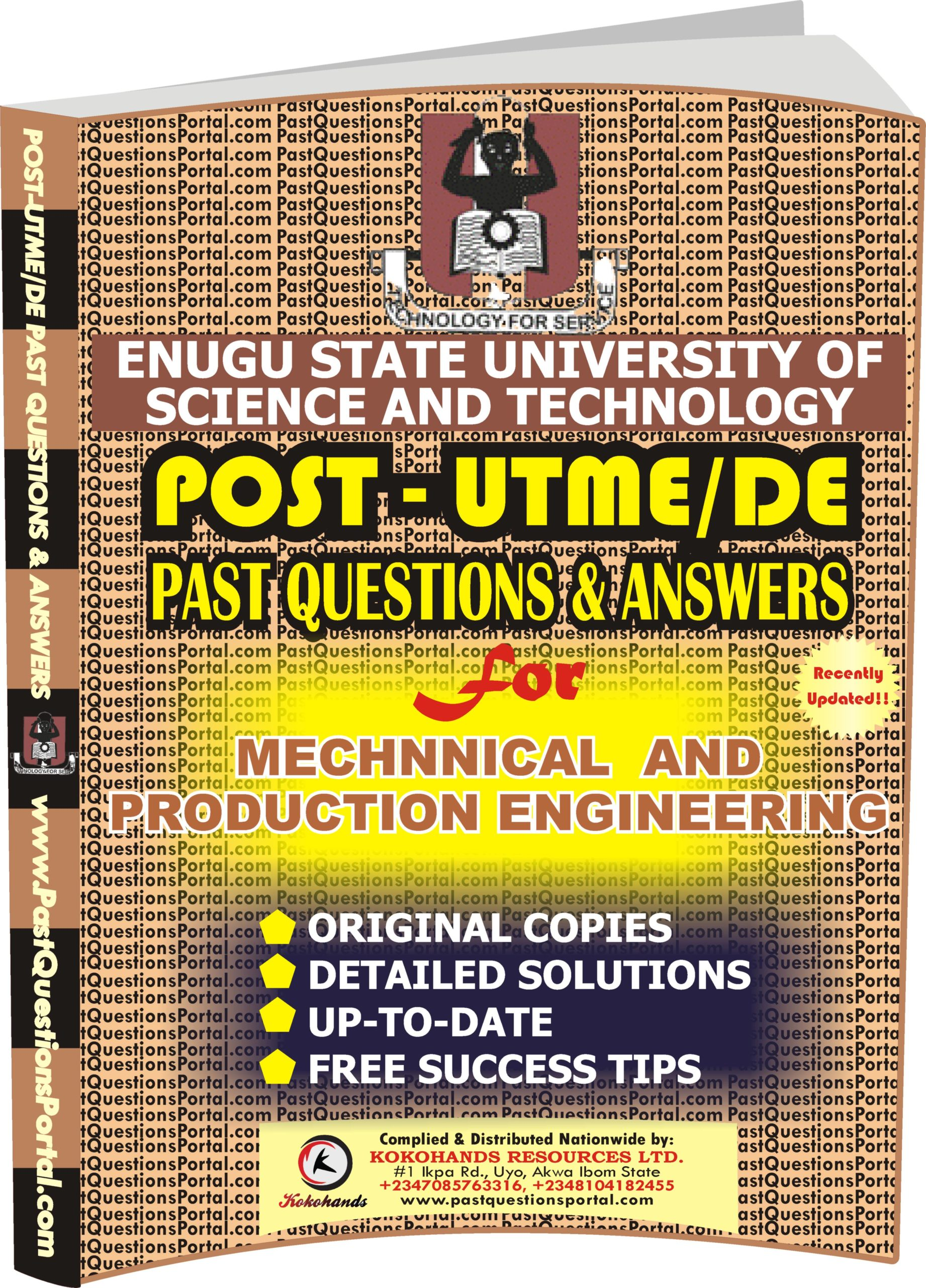 ESUT Post UTME Past Questions for Mechanical and Production Engineering