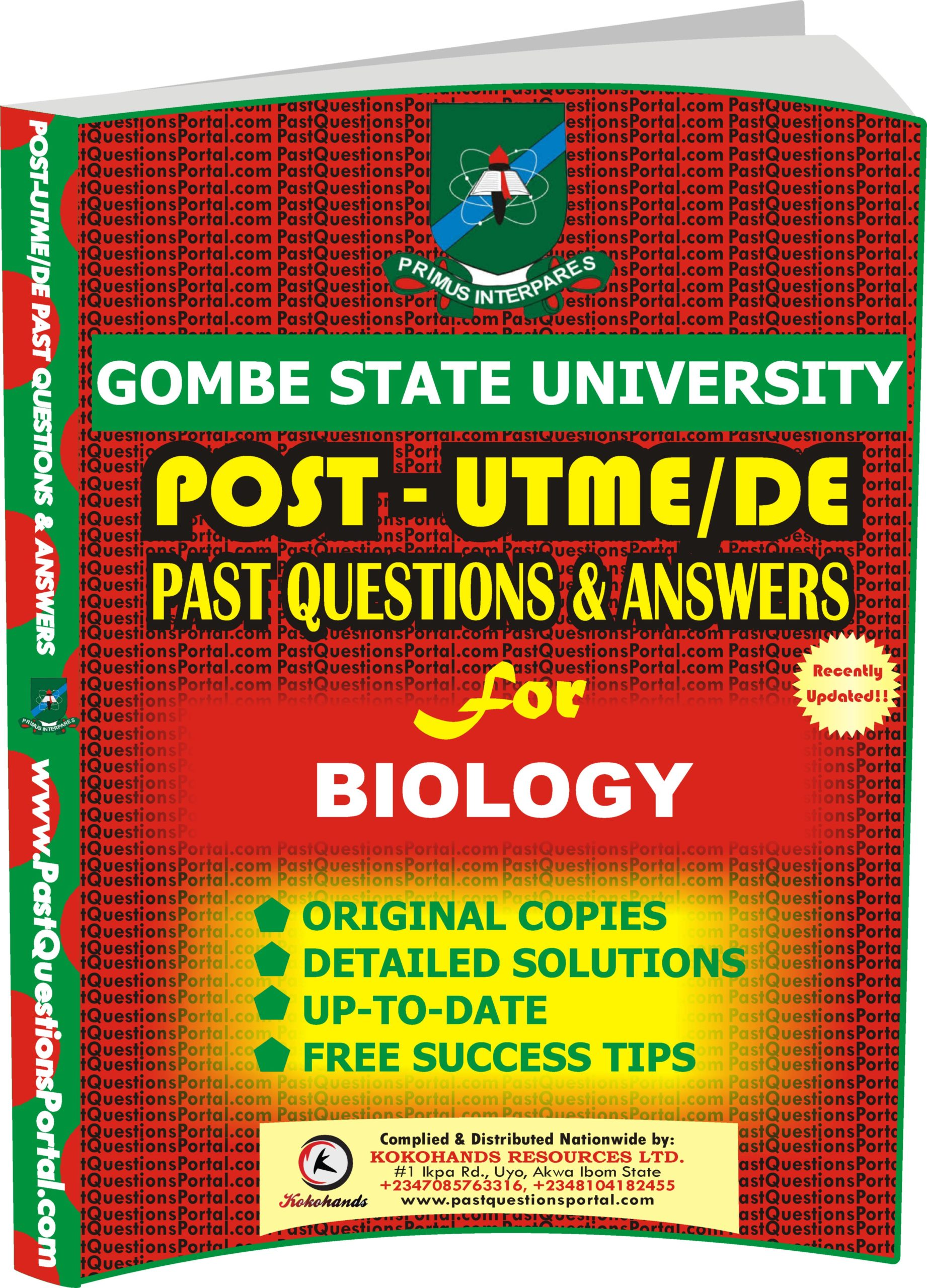 GSU Post UTME Past Questions for BIOLOGY